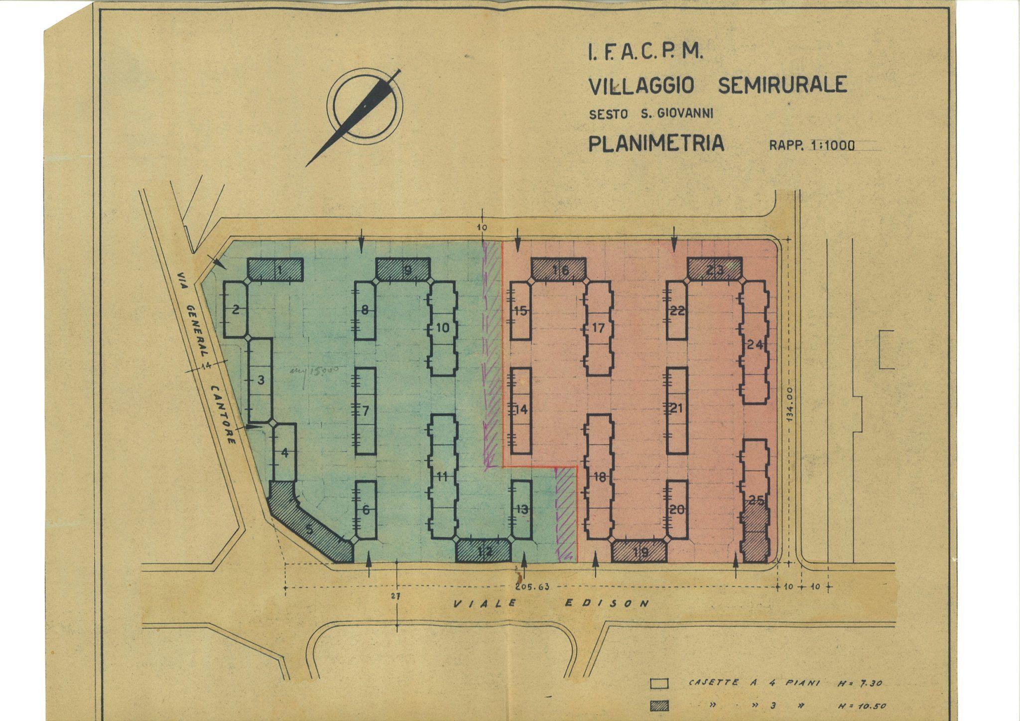 Planimetria Villaggio IFACPM in Sesto San Giovanni (1942)