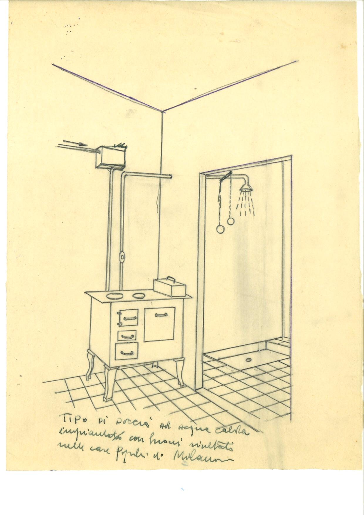 Progetto di tipo di doccia per case popolari (1942)