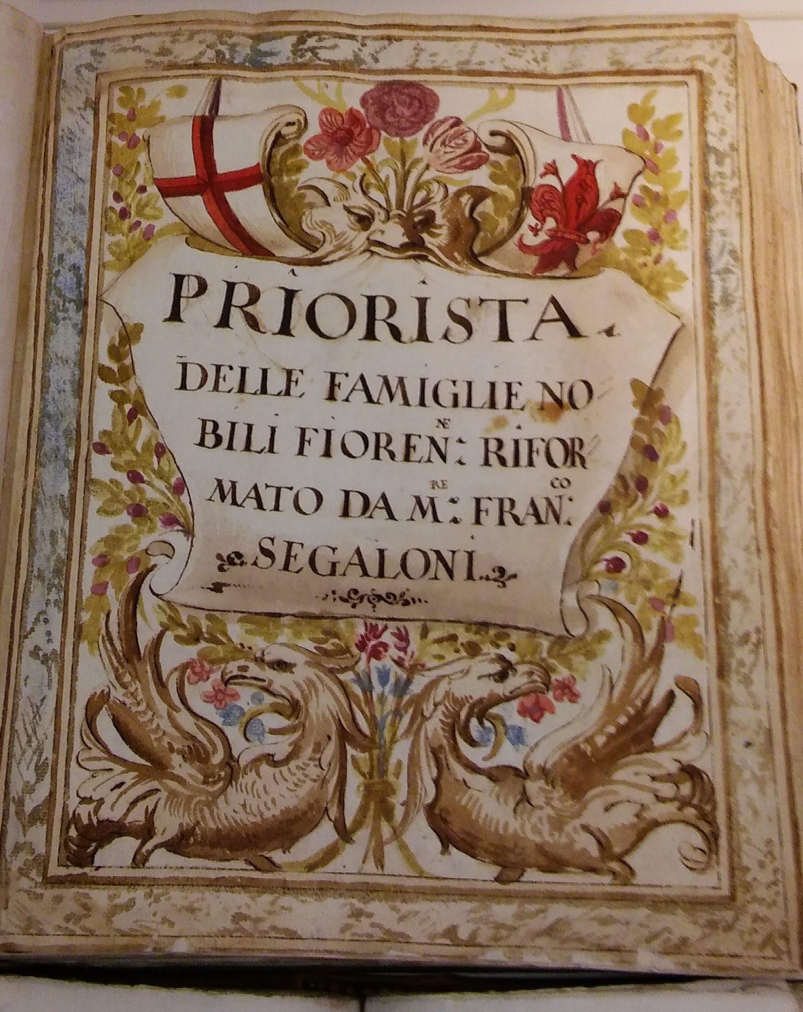 Frontespizio del manoscritto seicentesco de Il Priorista Fiorentino