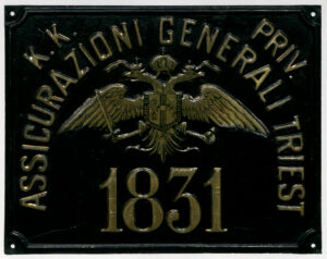 Fire insurance metal plaque affixed to buildings (XIX century)