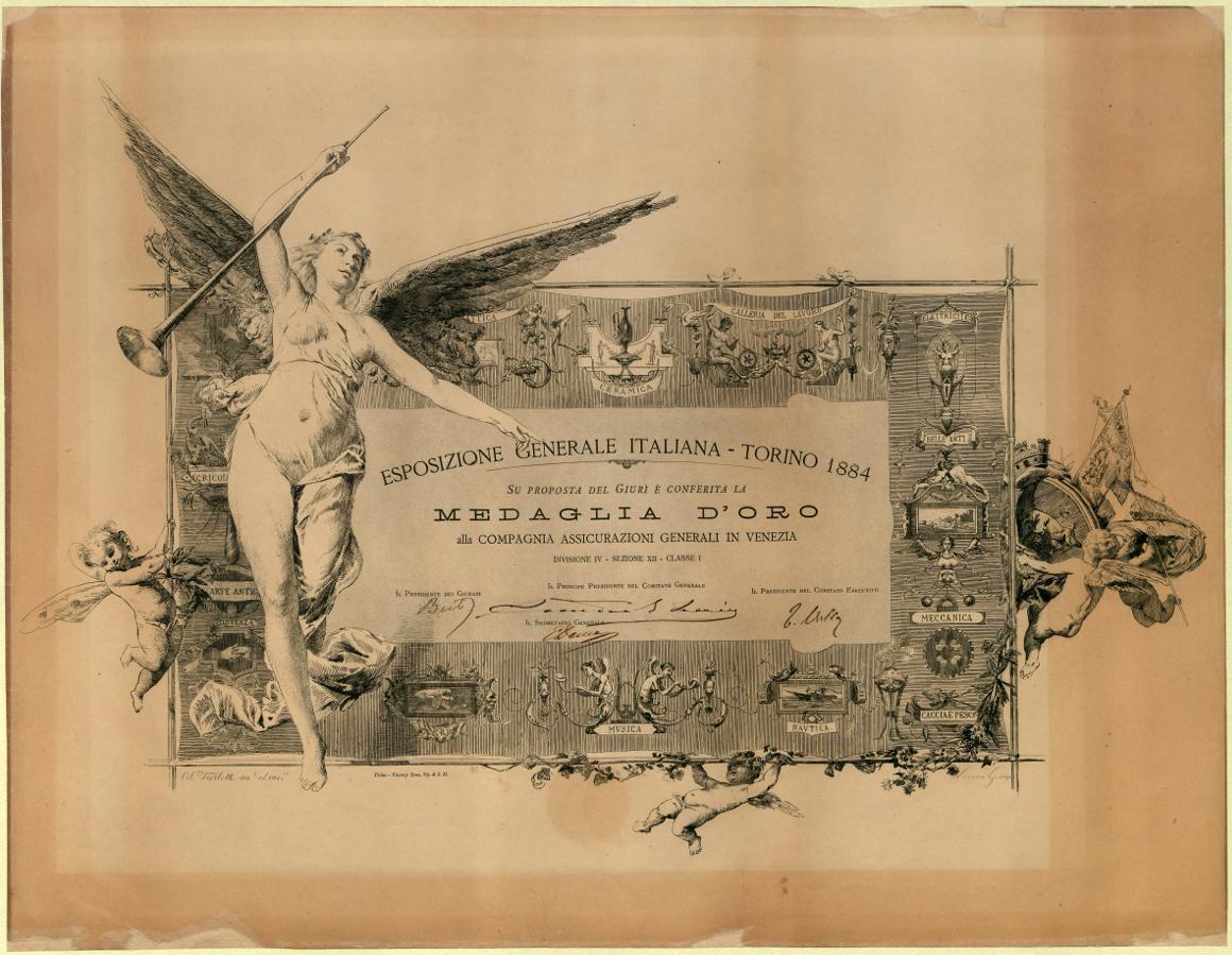 Diploma medaglia d'oro (Torino, 1884)