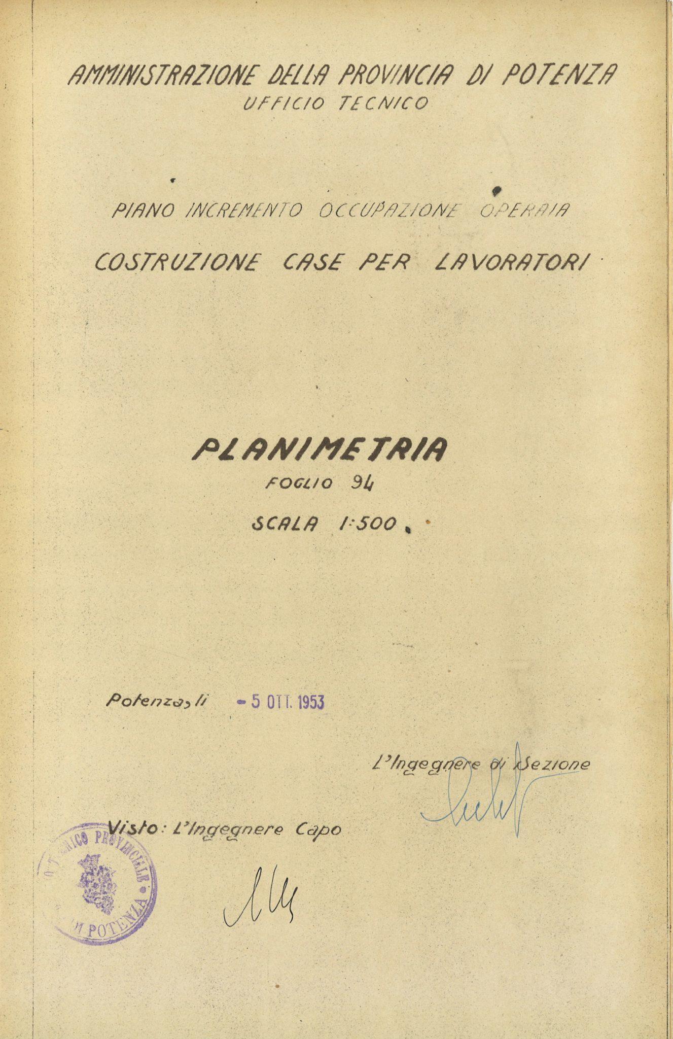Planimetry of areas for INA-Casa constructions (Potenza, 1953)