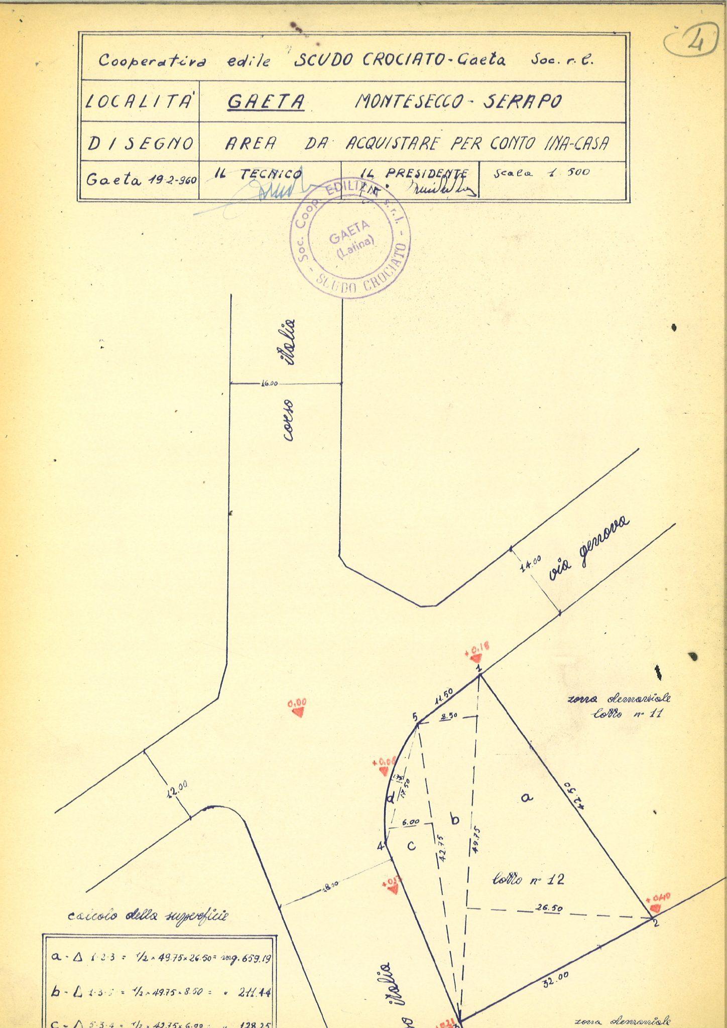 Measurement of area for INA-Casa constructions (Gaeta, 1960)