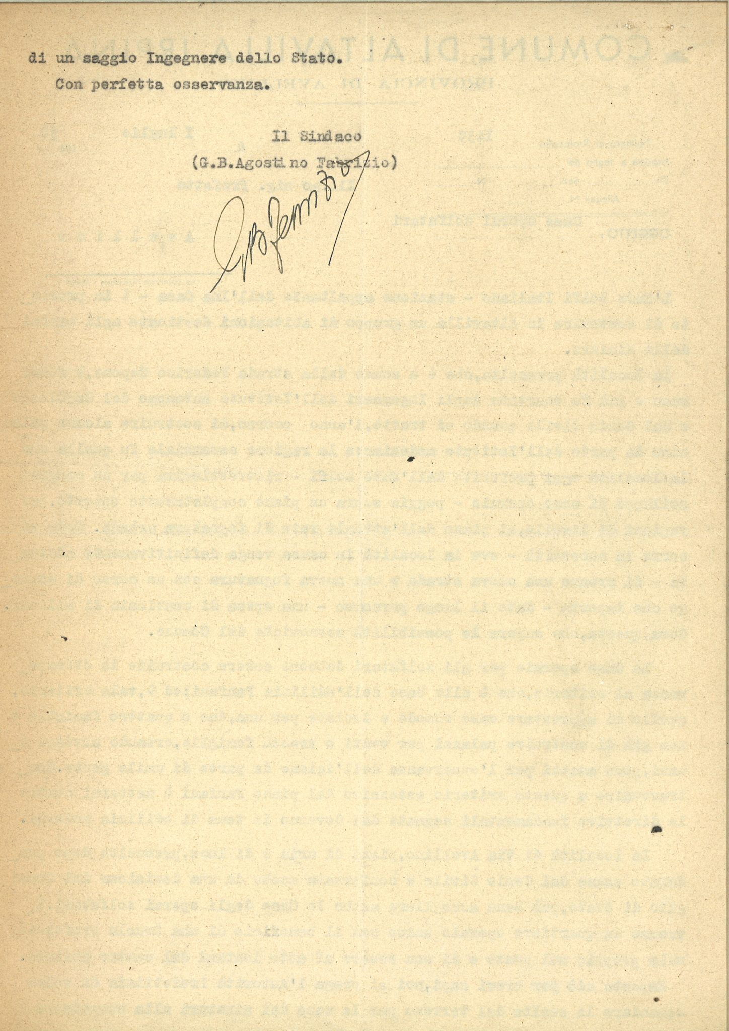 """Letter from the village of Altavilla Irpina with the subject """"Houses for sulfur mine workers (transl.)"""" - Back (1950)"""