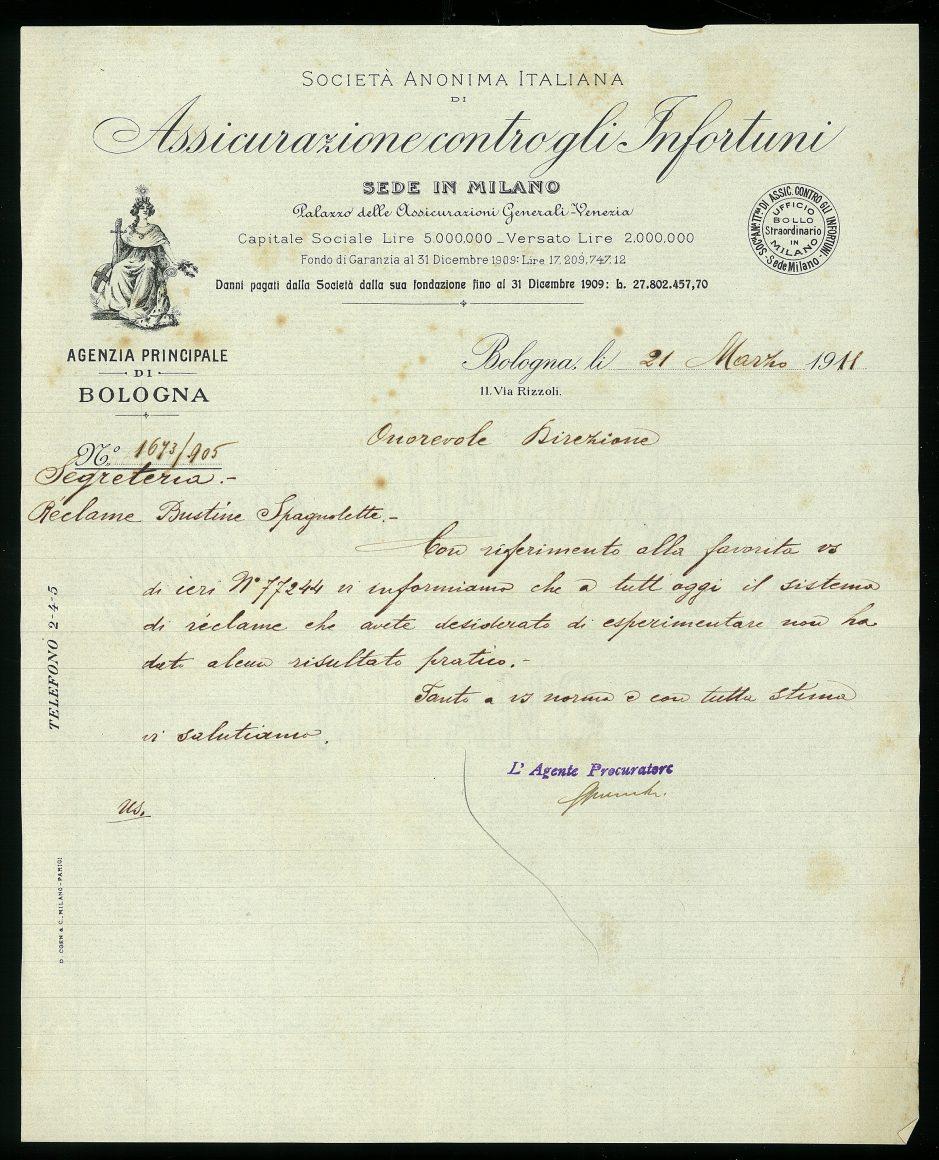Nota dell'agenzia principale di Bologna (Bologna, 21 marzo 1911)