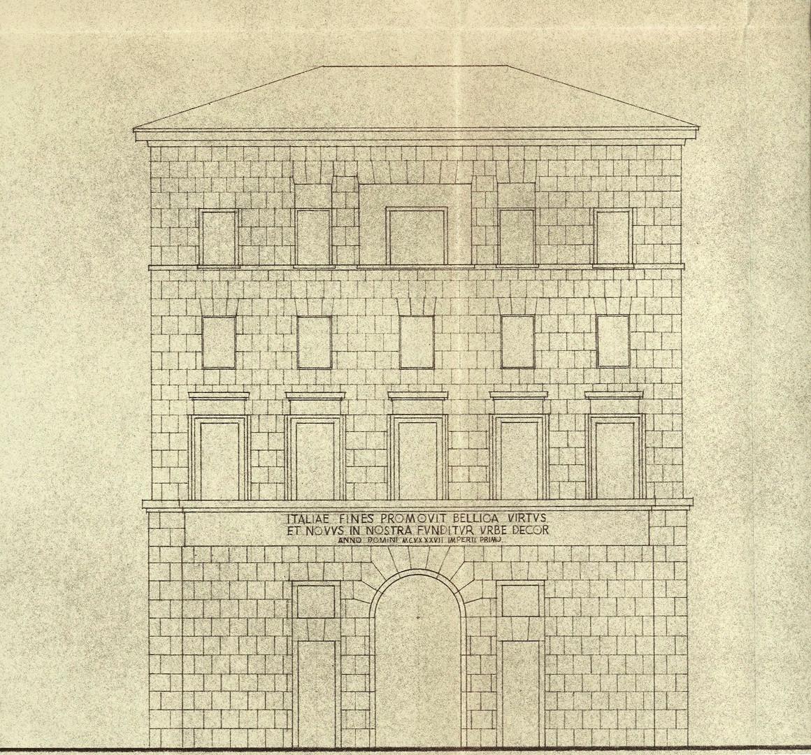 Particolare di prospetto non realizzato del palazzo di corso del Rinascimento (1940 ca.)
