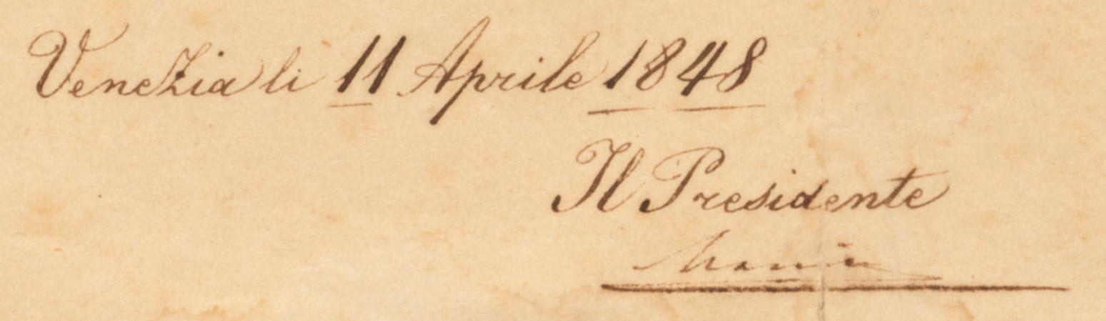 Decreto della Repubblica veneta (Venezia, 11 aprile 1848), particolare con la firma di Daniele Manin