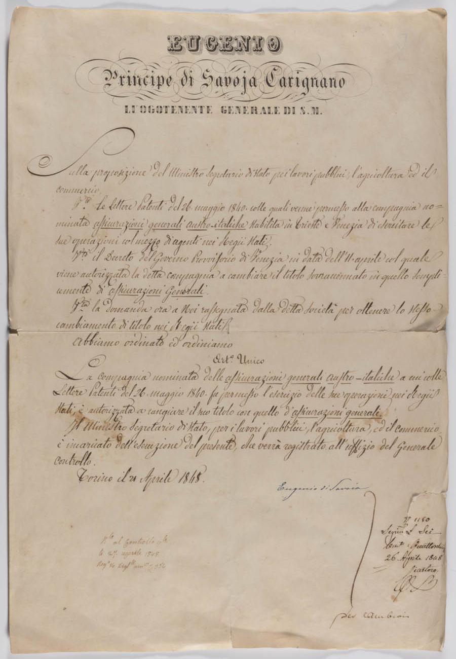 Decreto del Regno di Sardegna (Torino, 21 aprile 1848) / ph. Duccio Zennaro
