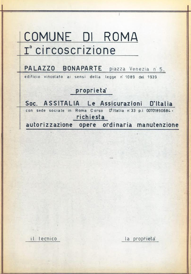 Dal fascicolo di palazzo Bonaparte in Archivio