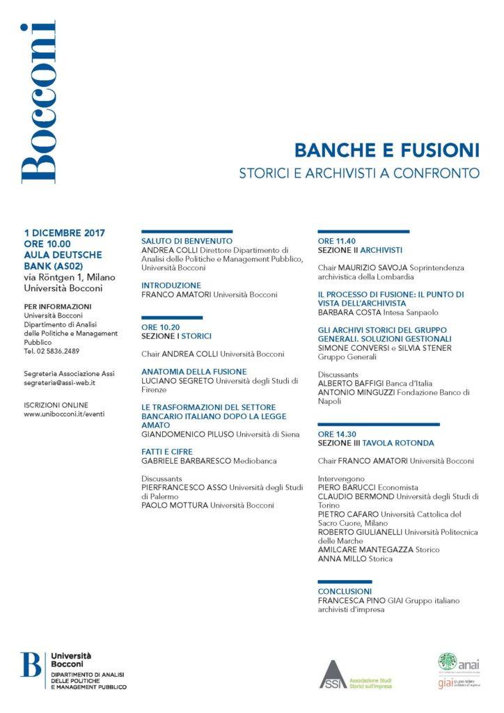 Programma del workshop Banche e fusioni, storici e archivisti a confronto (Milano, 1 dicembre 2017)