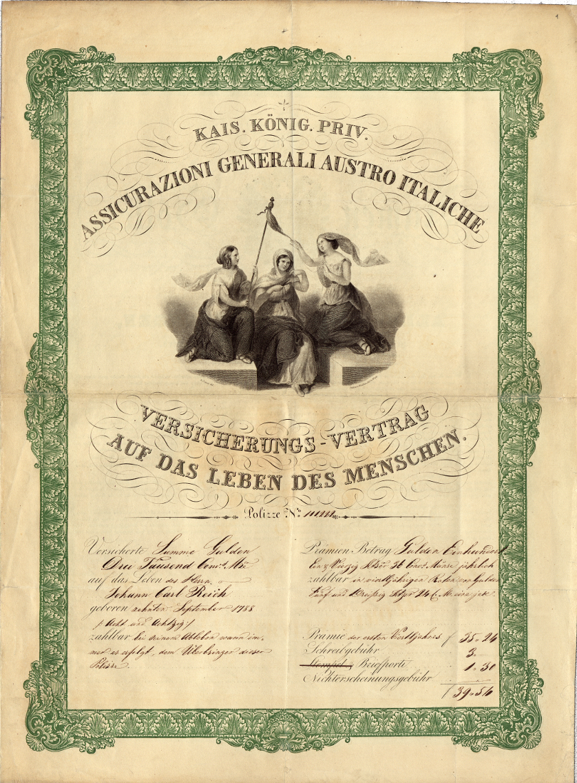 Polizza in caso di morte di Johann Carl Reich (Trieste, 14 febbraio 1839)