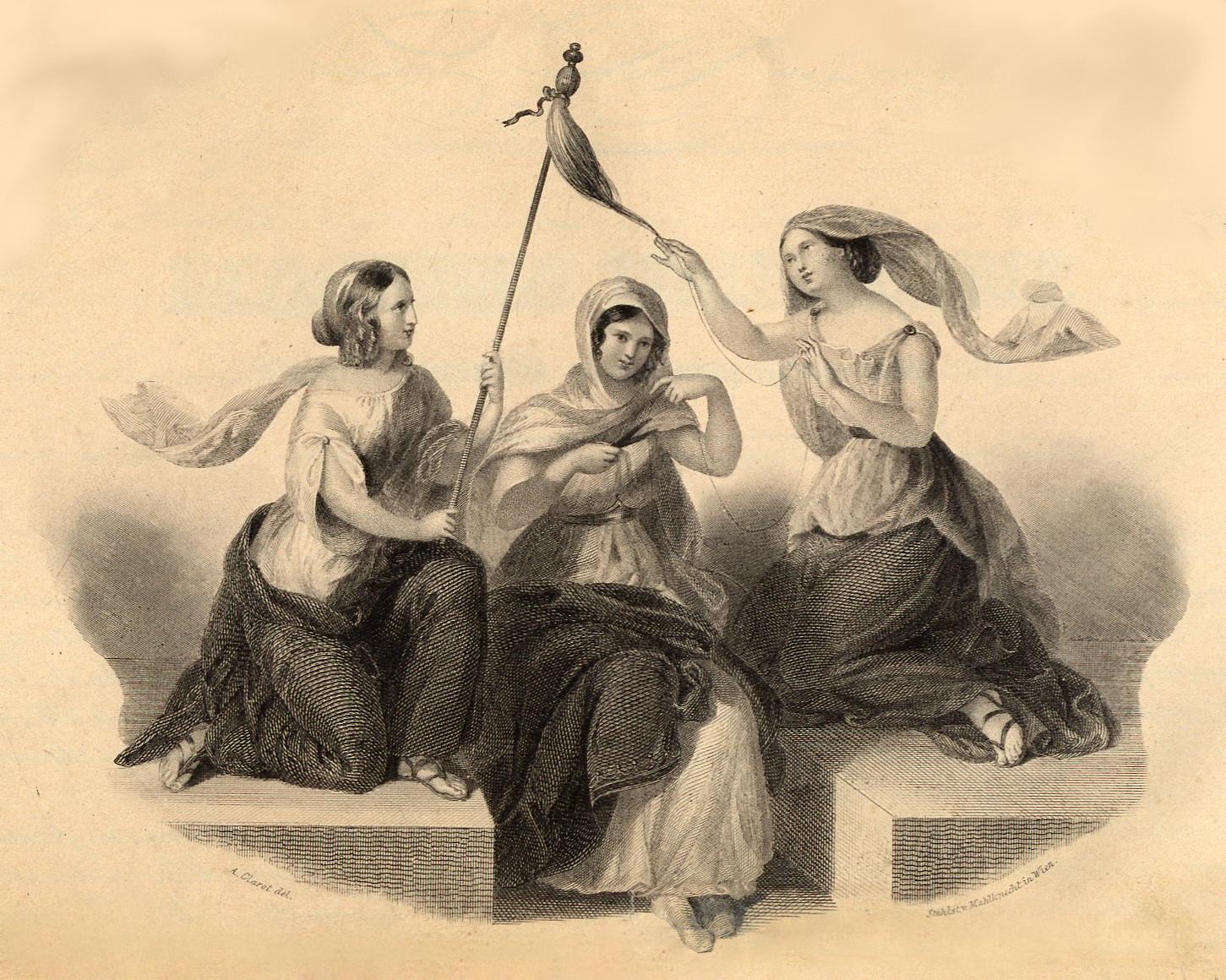 Polizza in caso di vita di Francesco Mecchia, particolare delle Parche (Trieste, 1 aprile 1840)