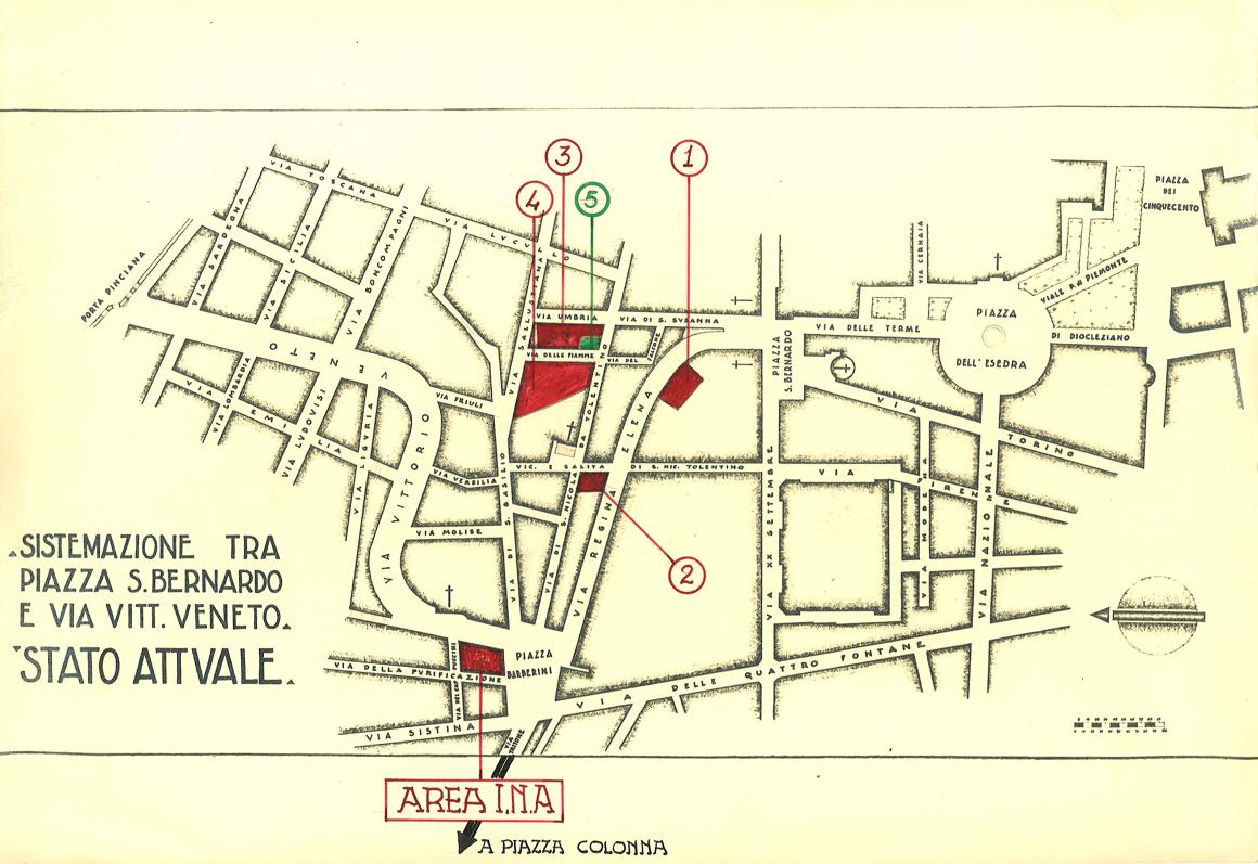 Elaborato per il confronto dei prezzi delle aree acquistate dall'Ina (anni trenta del XX sec.)