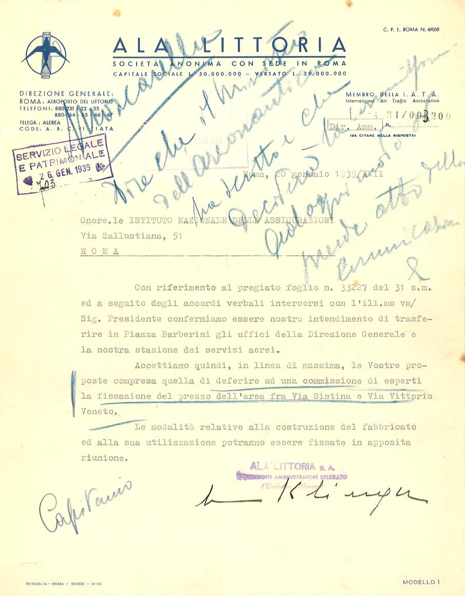 Lettera della direzione dell'Ala Littoria all'INA (Roma, 1939)