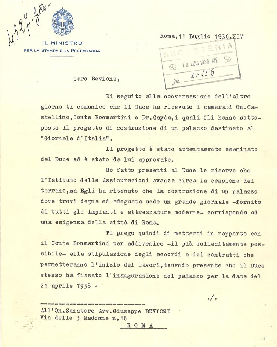 Lettera di Dino Alfieri a Giuseppe Bevione (Roma, 1936), recto