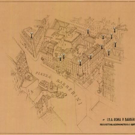 Axonometric view of Piazza Barberini (1960s)