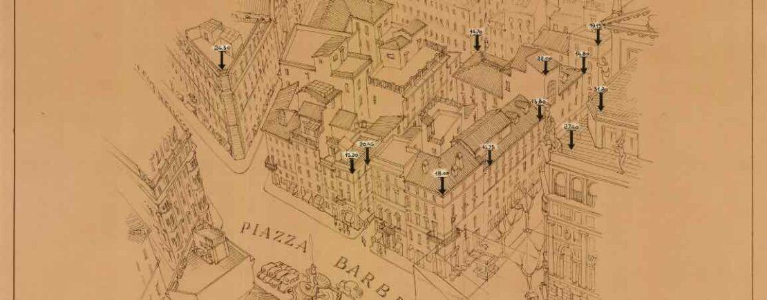 Prospettiva assonometrica di piazza Barberini (anni sessanta del XX sec.)