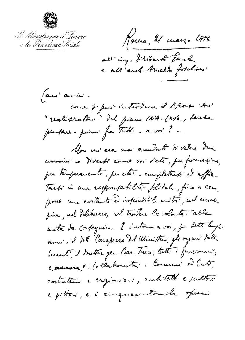 Lettera del ministro del Lavoro Ezio Vigorelli all'INA, recto (Roma, 1956)