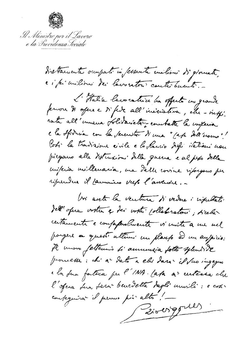 Lettera del ministro del Lavoro Ezio Vigorelli a INA, verso (Roma, 1956)