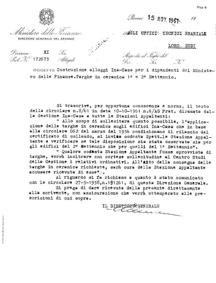 Lettera del ministro delle Finanze sulle targhe in ceramica Ina-Casa (Roma, 1961)
