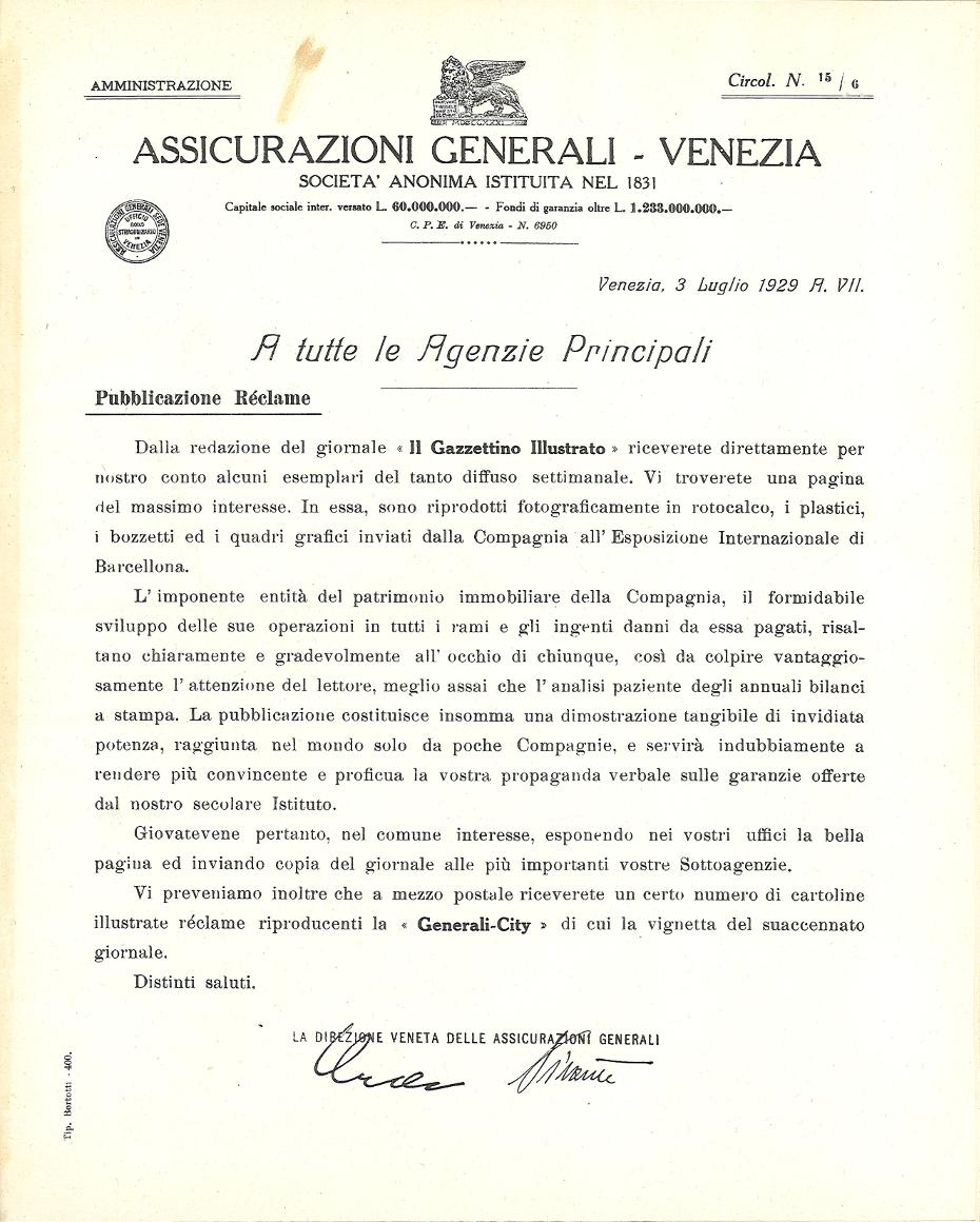Circolare n. 15/6 della Direzione veneta (Venezia, 3 luglio 1929)
