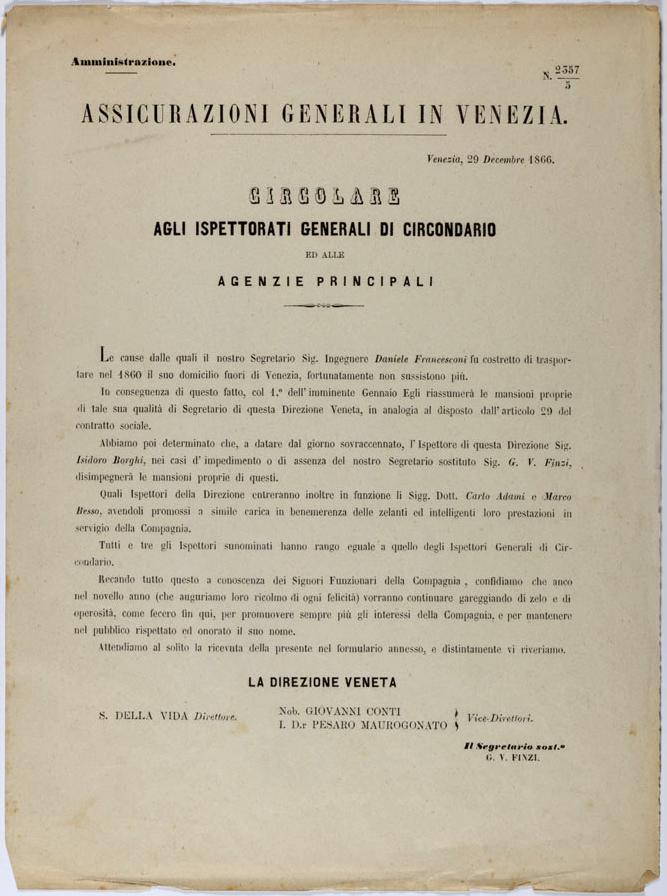 Circolare della Direzione veneta (1866) / ph. Duccio Zennaro