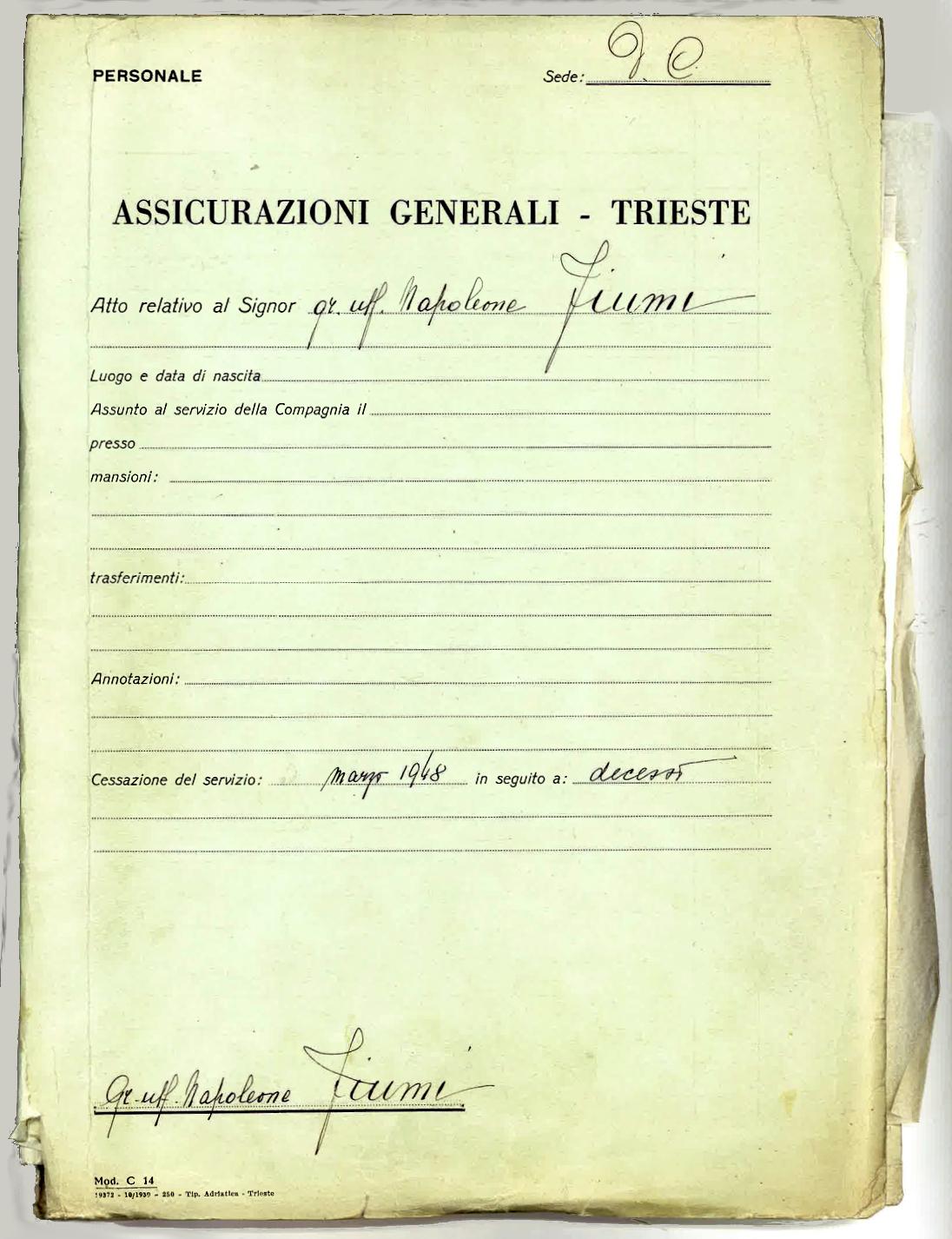 Fascicolo personale di Napoleone Giovanni Fiumi (1940-1948), coperta