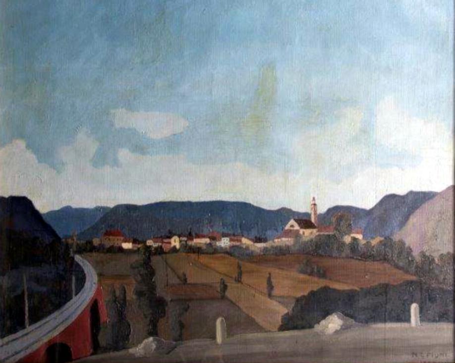 Napoleone Giovanni Fiumi, Il viadotto, olio su tela (1938)