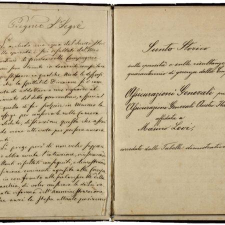 Sunto storico di Masino Levi (1878), lettera dedicatoria e frontespizio / ph. Duccio Zennaro