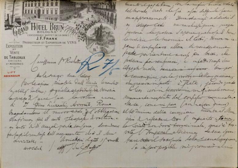 Lettera di Marco Besso a Edmondo Richetti (Bologna, 1898) / ph. Duccio Zennaro