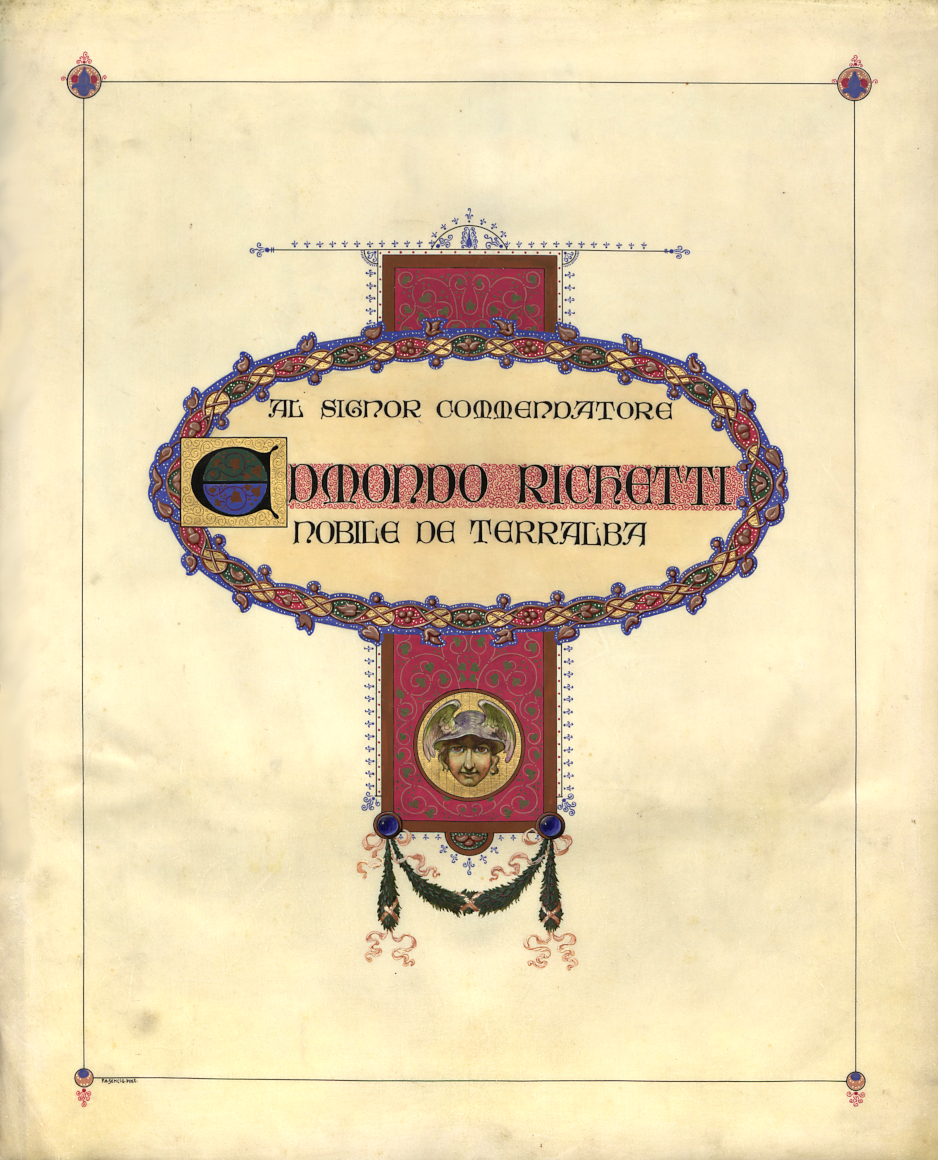 Diploma in onore di Edmondo Richetti in occasione del suo pensionamento (1913), frontespizio