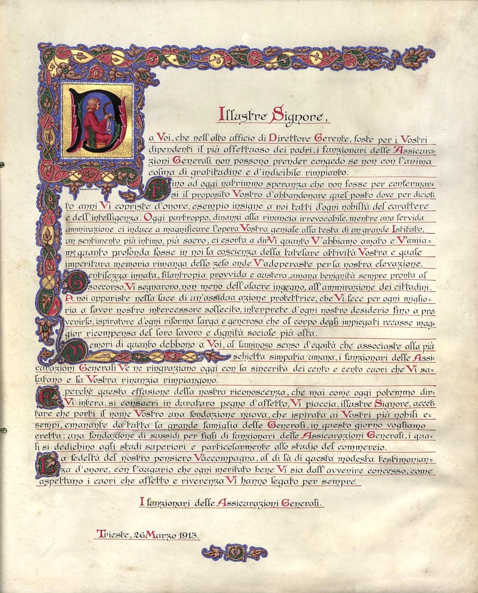 Diploma in onore di Edmondo Richetti in occasione del suo pensionamento (1913), seconda pagina