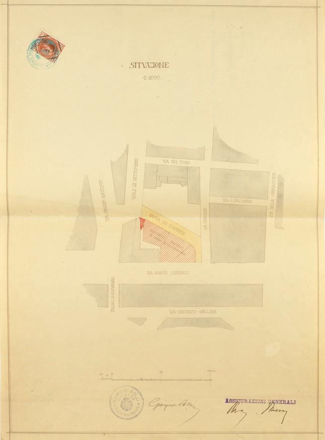 Isola di Chiozza, Trieste (1923): nuovo progetto edilizio con firma autografa di Giorgio Polli