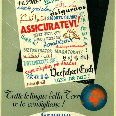 """Cartello pubblicitario da tavolo """"Assicuratevi!"""" (1955)"""