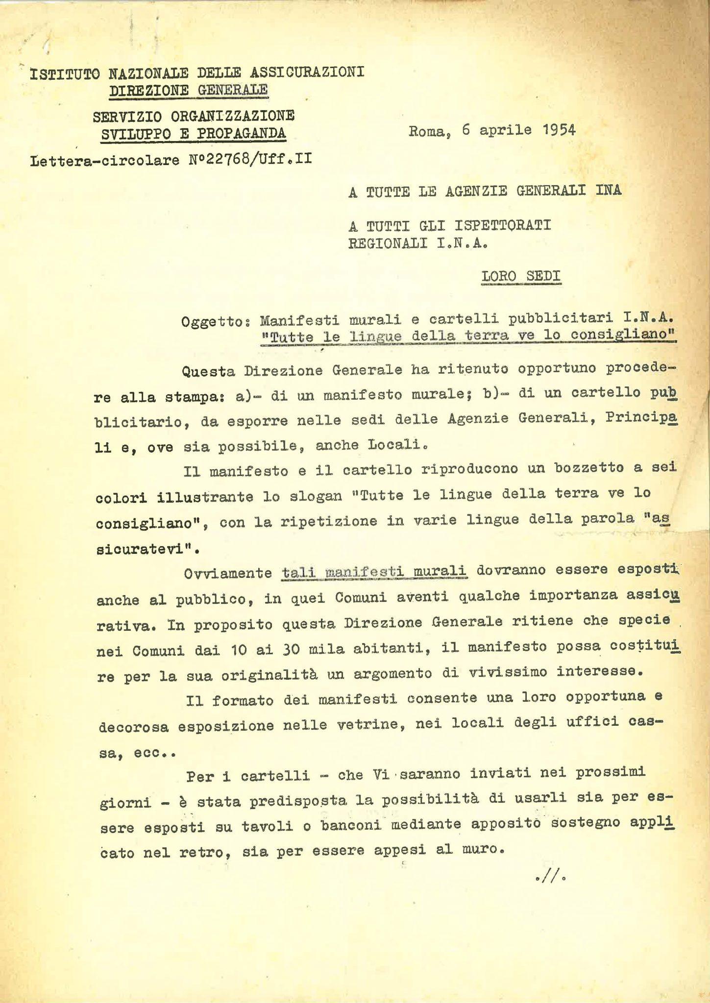 """Corrispondenza del direttore generale dell'INA sulla diffusione del manifesto """"Assicuratevi"""" (Roma, 6-14 aprile 1954)"""