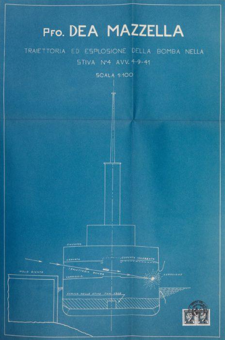 Perizia sul piroscafo Dea Mazzella, schema tecnico (Napoli, 25 settembre 1942)