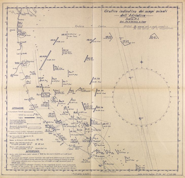 Grafico indicativo dei campi minati nell'Adriatico dal porto di Volano a Fano [1948]