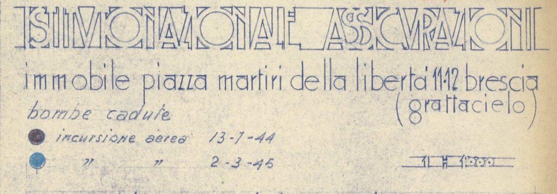 Brescia, planimetria di Piazza della Vittoria, temporaneamente ridenominata Piazza Martiri della Libertà, con indicazione delle bombe cadute (1944)