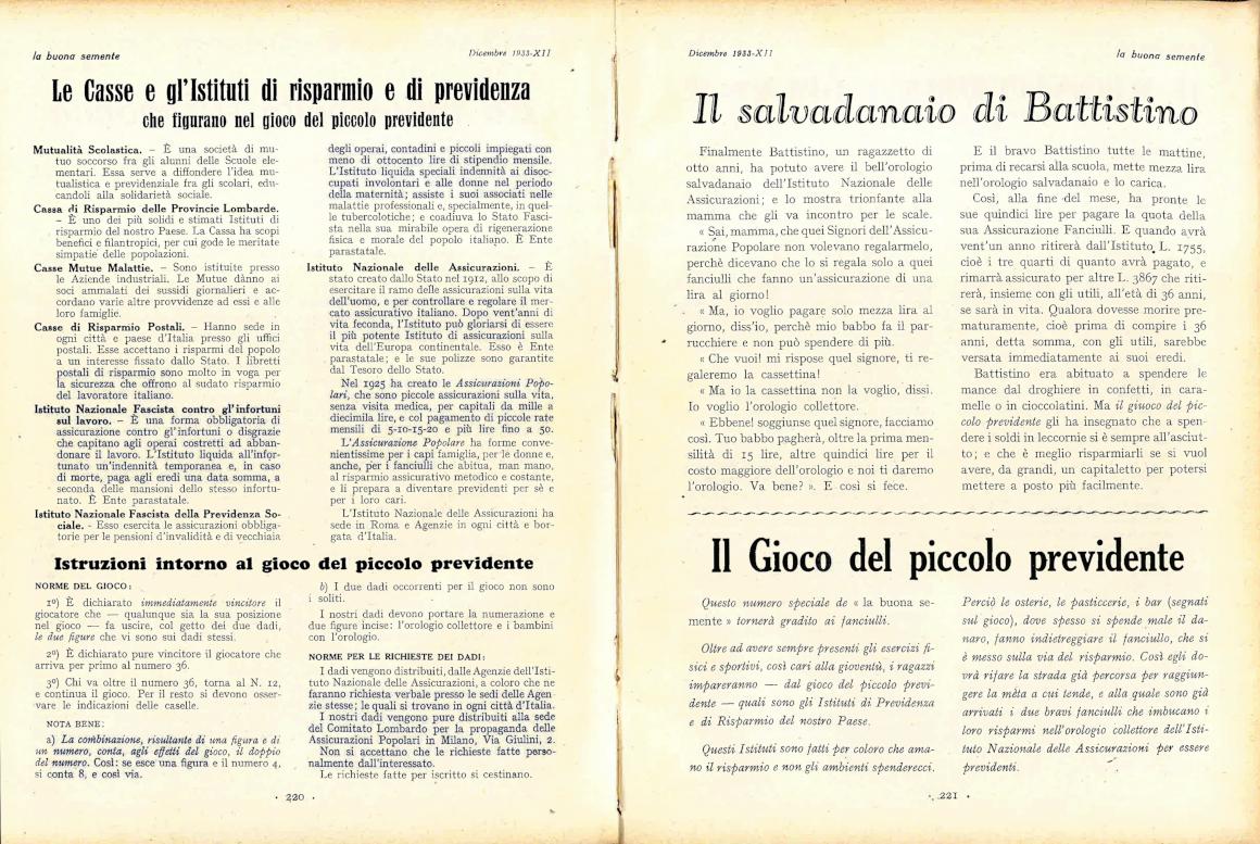 Pagina della rivista «La Buona Semente» dedicata al gioco (1933)