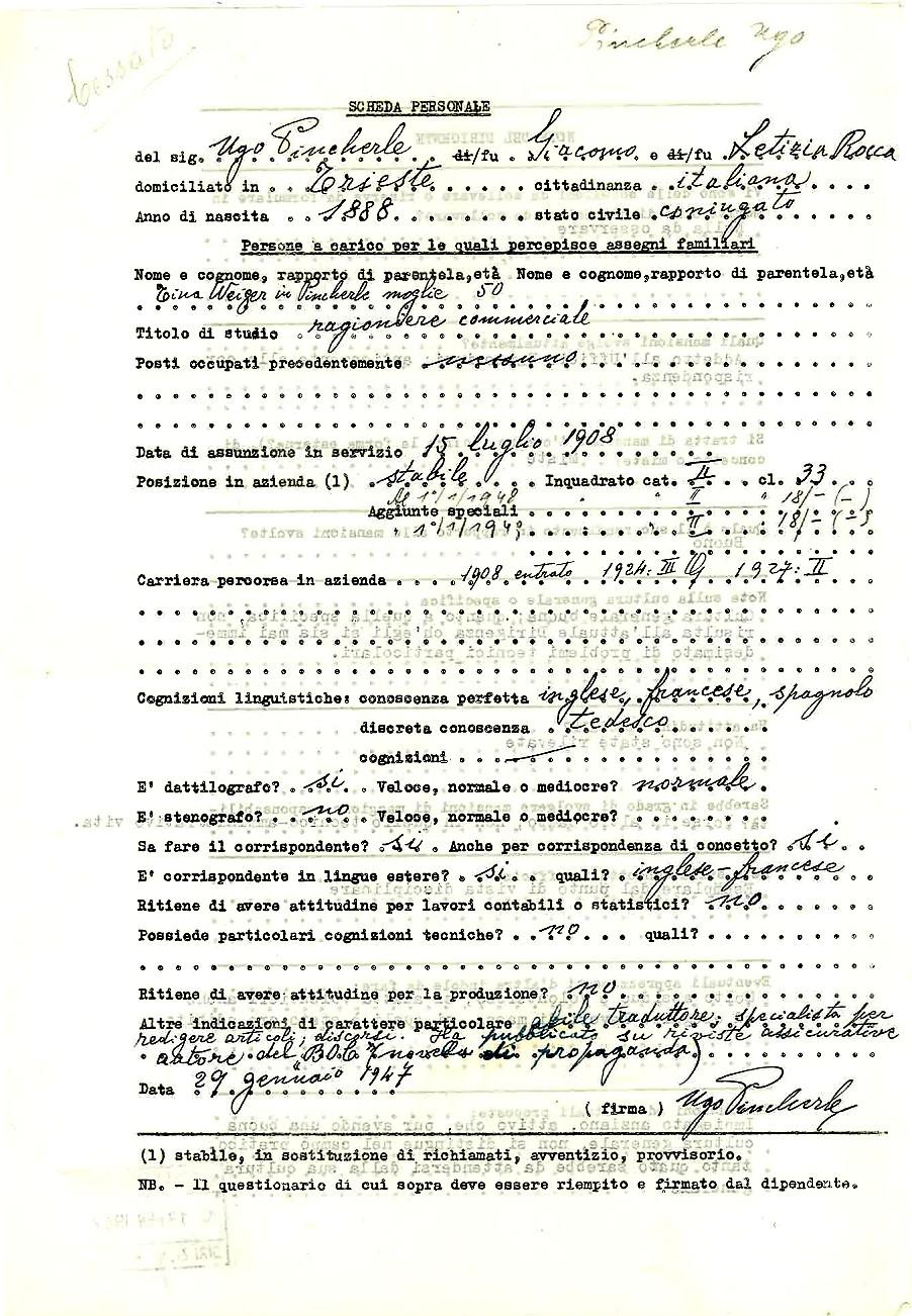 Scheda personale di Ugo Pincherle (1947)