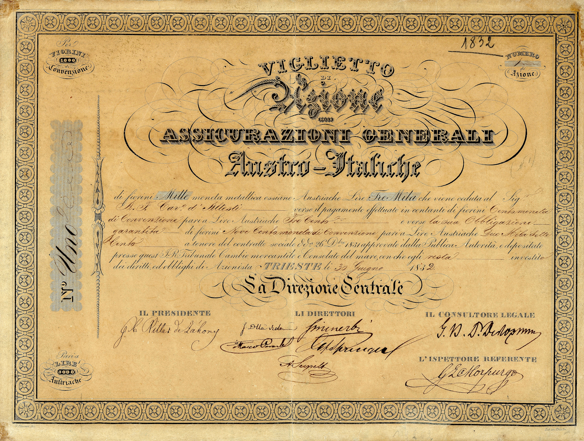 Share Certificate No. 1 (1832)