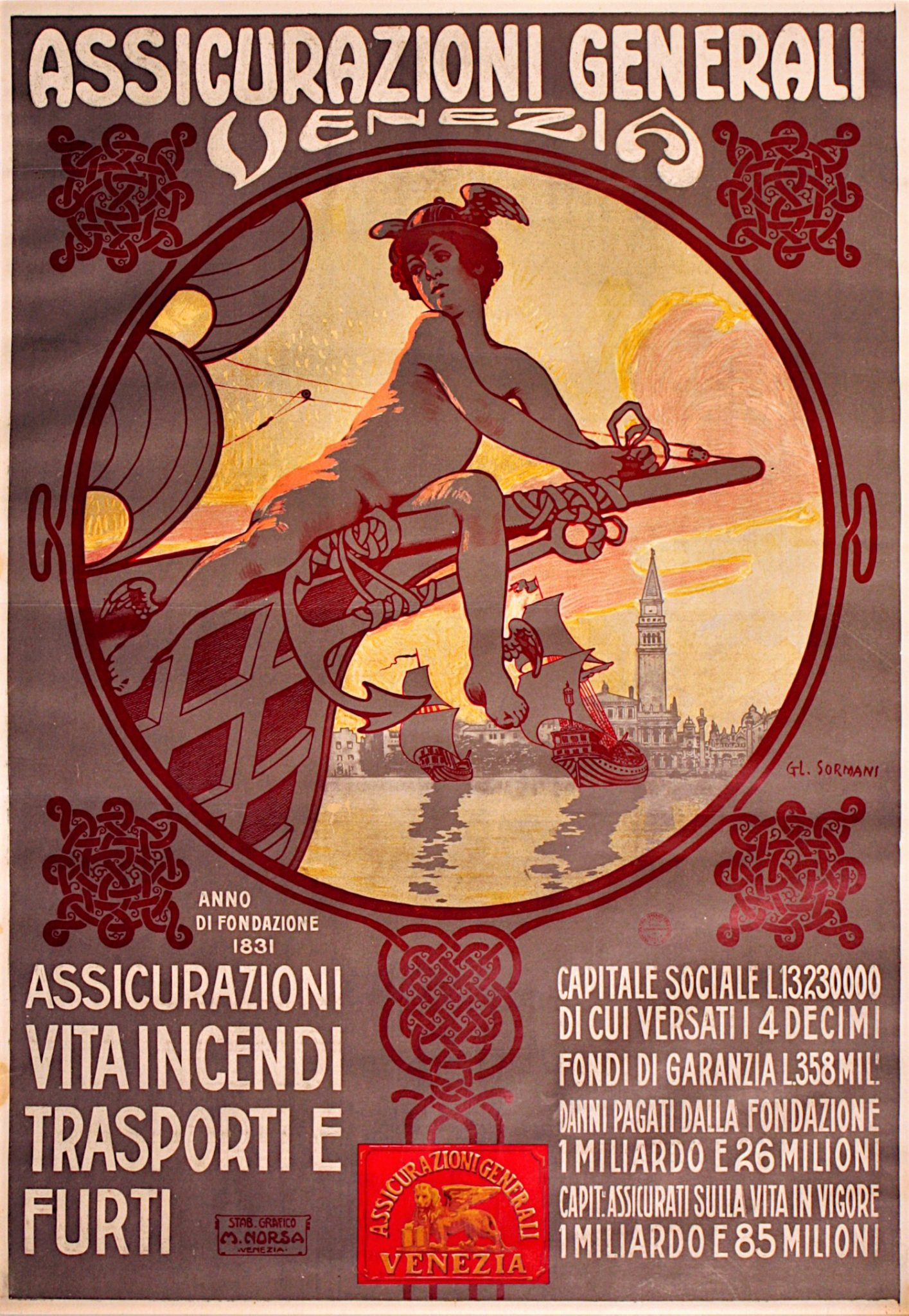 Gian Luciano Sormani, Advertising Poster of Assicurazioni Generali Venezia (1910) / ph. Massimo Goina