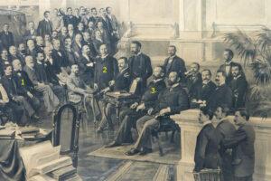 The staff of the Budapest branch portraied in a photograph donated to Secretary General Edmondo Richetti (Budapest, 1899), detail showing Mór Jókai (1), Jacob Poór (2) and Emil Steinhardt (3) / ph. Massimo Goina
