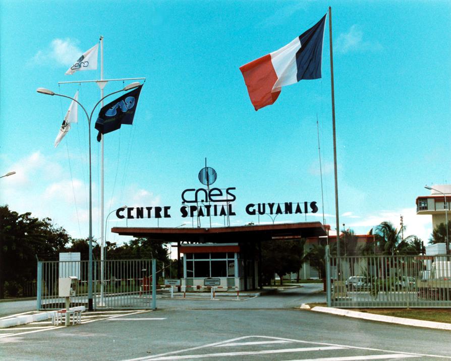 Lo spazioporto dell'ESA a Kourou, ingresso principale (maggio 1991)