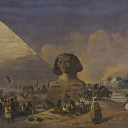 Ippolito Caffi, A caravan at the feet of the sphinx
