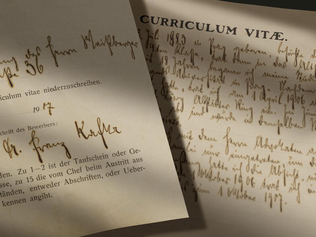 Richiesta d'impiego alle Assicurazioni Generali di Franz Kafka, con curriculum vitae (Praga, 2 ottobre 1907) / ph. Massimo Gardone