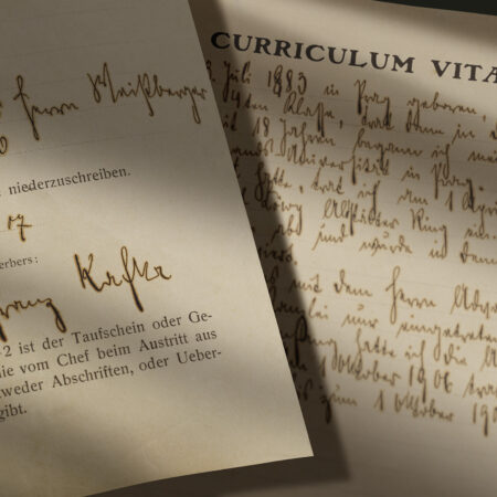 Franz Kafka's Assicurazioni Generali job application, with curriculum vitae (Prague, October 2, 1907) / ph. Massimo Gardone