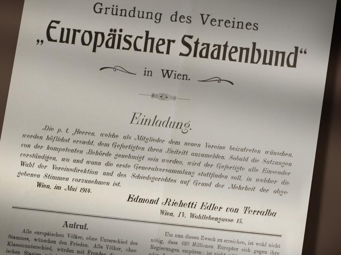 Manifesto Europäischer Staatenbund (Unione degli Stati europei) di Edmondo Richetti (Vienna, maggio 1914) / ph. Massimo Gardone