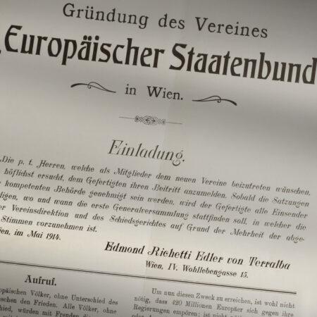 The Europäischer Staatenbund pamphlet (Association of European States) by Edmondo Richetti (Vienna, May 1914) / ph. Massimo Gardone