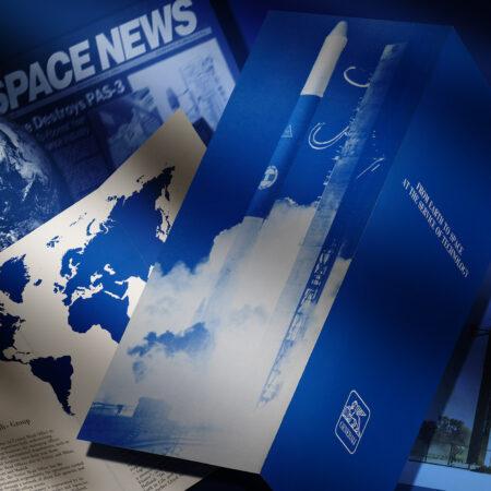 Generali brochure highlighting the Sirio satellite launch (1983) / ph. Massimo Gardone